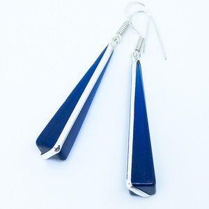 Blue Topaz 925 Sterling Silver Dangle Earrings